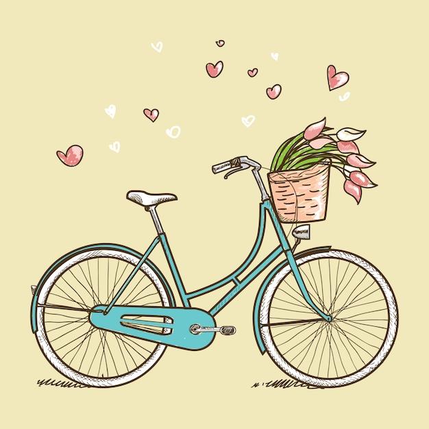 Винтажный велосипед с цветами Premium векторы