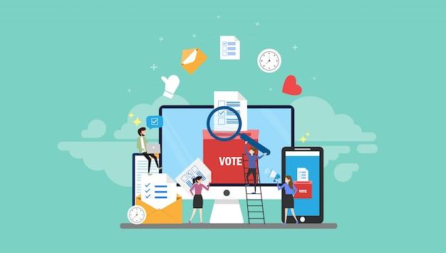 Онлайн голосование крошечные люди характер концепция векторные иллюстрации Premium векторы