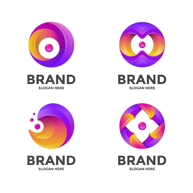 サークルの抽象的なロゴのテンプレート Premiumベクター