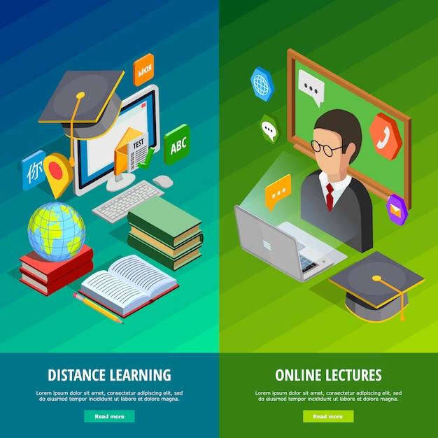 Онлайн обучение вертикальным баннерам Бесплатные векторы