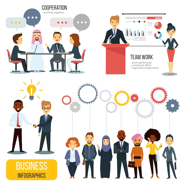 チームワークとパートナーシップのビジネスインフォグラフィックセット 無料ベクター