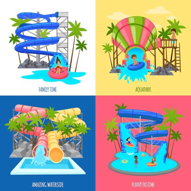 Концепция дизайна аквапарка Бесплатные векторы