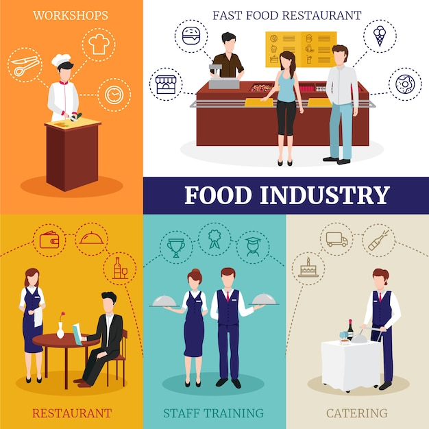 レストランで働く男性と女性の人々との食品産業デザインコンセプト 無料ベクター