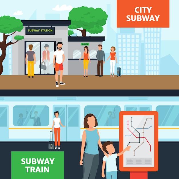 電車を待っている駅の入り口近くの人々と地下鉄の水平方向のバナー 無料ベクター