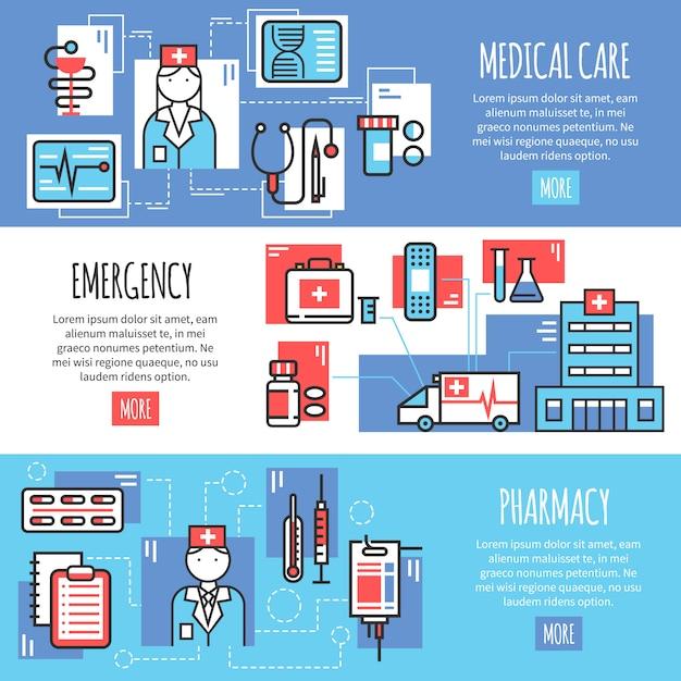 Медицинские горизонтальные баннеры Бесплатные векторы