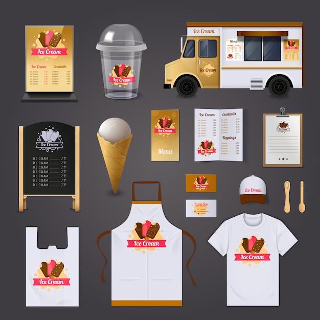 アイスクリーム販売のリアルなデザインセット 無料ベクター
