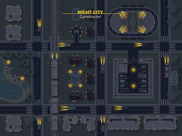 夜の街のトップビュー 無料ベクター