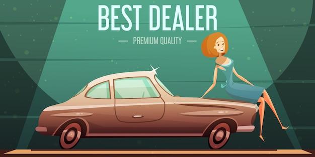 Самый продаваемый винтажный автомобиль у дилера премиум-класса Бесплатные векторы