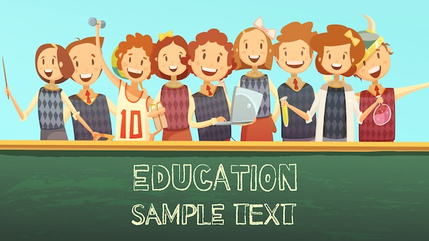 初等教育のタイムテーブルタイトルテンプレート漫画ポスター 無料ベクター