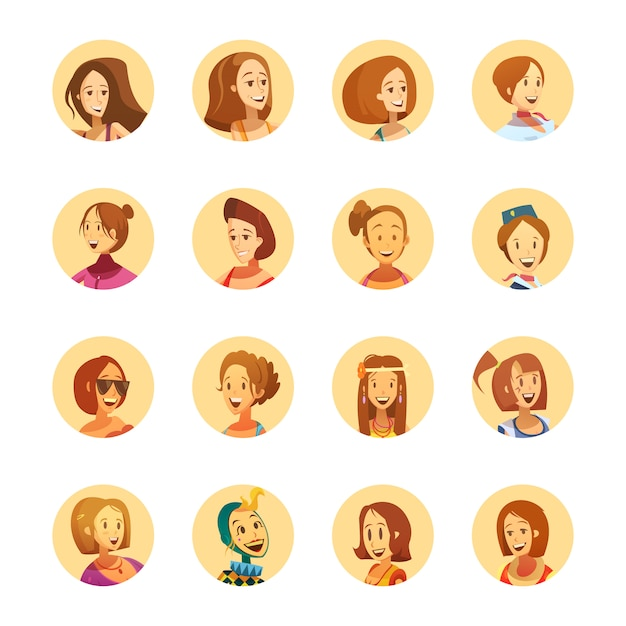 Молодая женщина улыбается мультяшном стиле вокруг аватара икон Бесплатные векторы
