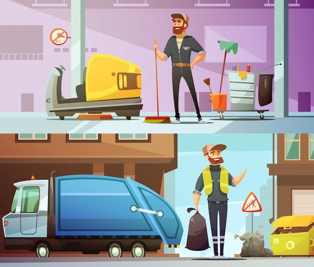 職場でのプロの清掃とごみ収集サービス 無料ベクター