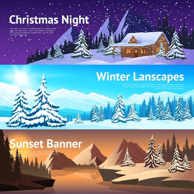 冬の風景の横バナー 無料ベクター