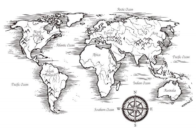 スケッチ世界地図テンプレート 無料ベクター