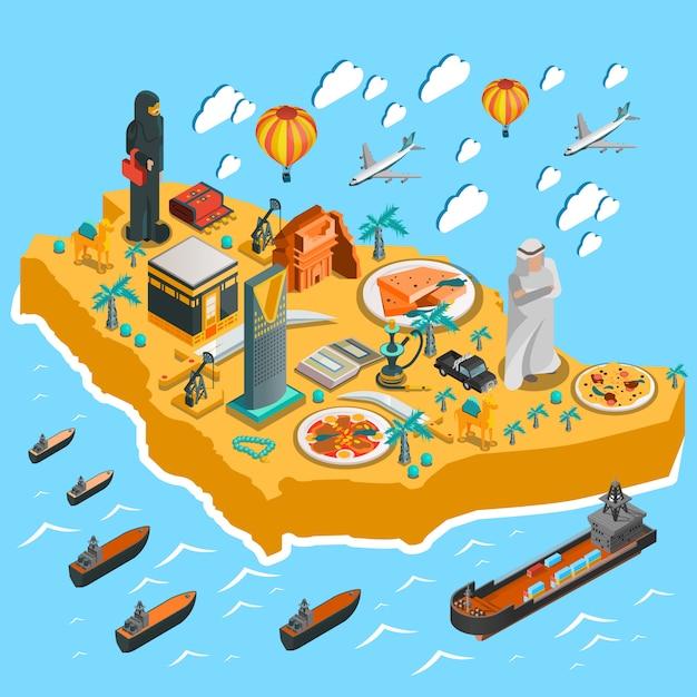 Шаблон изометрической карты саудовской аравии Бесплатные векторы