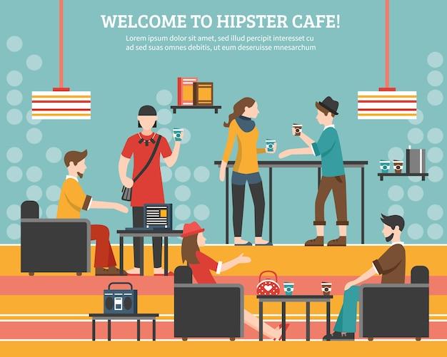 Битник кафе плоский иллюстрация Бесплатные векторы