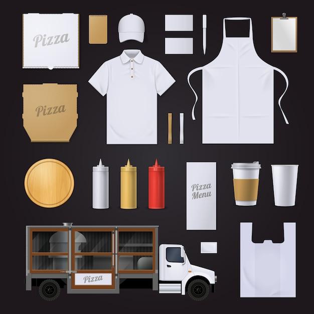 Фастфуд пиццерия визуальный фирменный стиль пустой шаблон коллекции предметов Бесплатные векторы