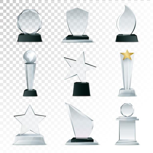 モダンなガラスカップトロフィーとチャレンジ賞サイドビューのリアルなアイコンコレクション 無料ベクター