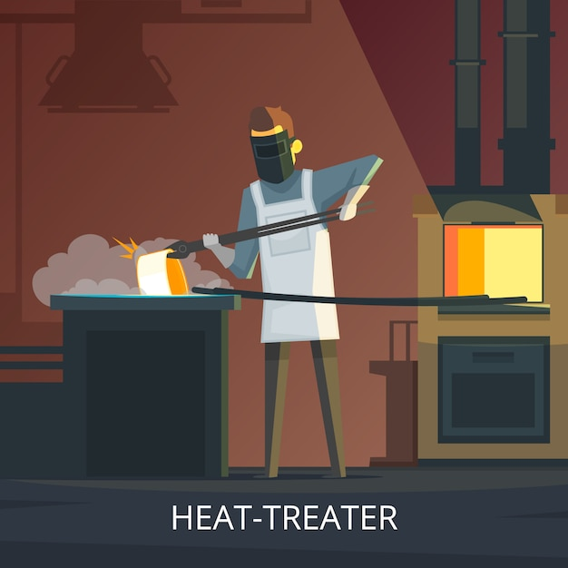 硬化のアンビルレトロ漫画ポスターに鍛冶屋熱処理鋼 無料ベクター