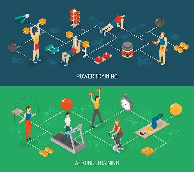 Набор кардио и силовых тренировок изометрические баннеры Бесплатные векторы