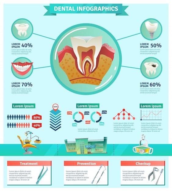 歯科検診重要性インフォグラフィックフラットバナー 無料ベクター