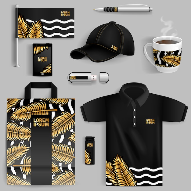 Реклама фирменного стиля с золотыми пальмовыми листьями Бесплатные векторы
