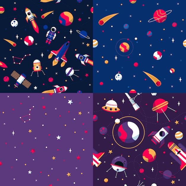宇宙のシームレスパターン 無料ベクター