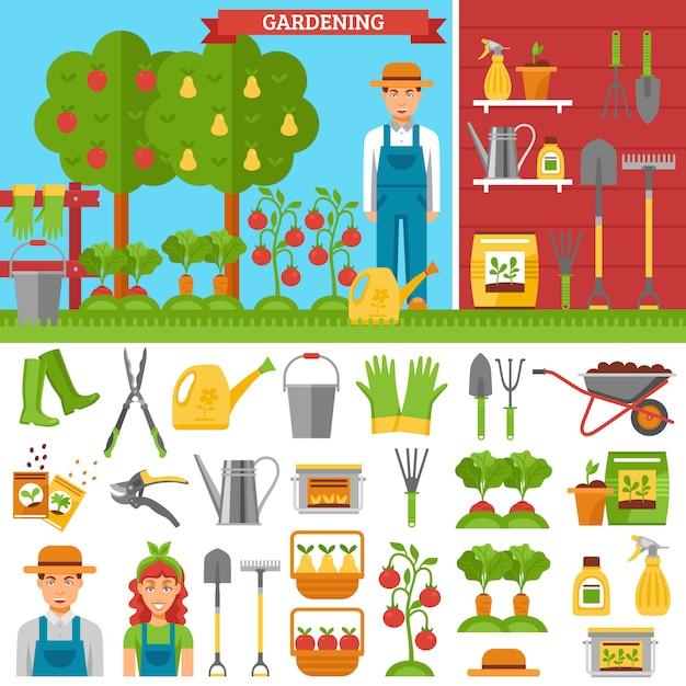 Выращивание овощей и фруктов в саду Бесплатные векторы