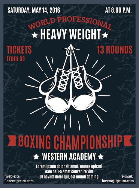ボクシングプロ選手権ポスター 無料ベクター