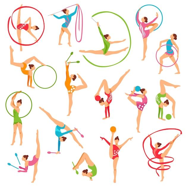 色の体操選手の少女像のセット 無料ベクター