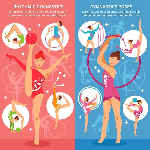 Художественная гимнастика вертикальные баннеры Бесплатные векторы