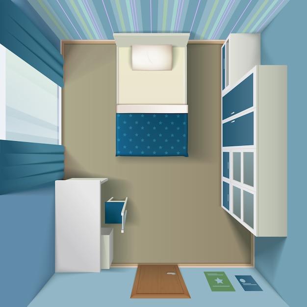 モダンなベッドルームのインテリアリアルなトップビュー 無料ベクター