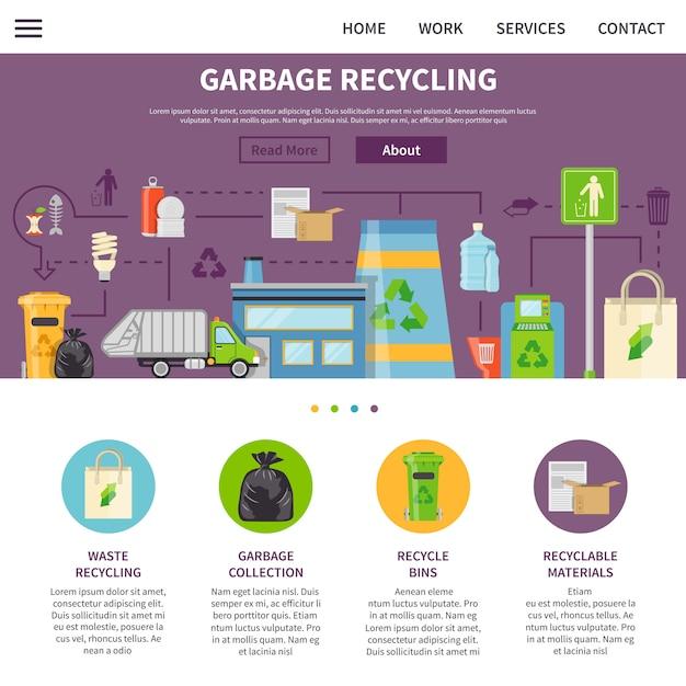 ゴミリサイクルページデザイン 無料ベクター