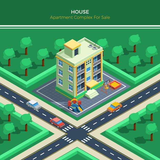 集合住宅と等尺性都市景観 無料ベクター