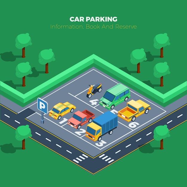Иллюстрация парковки Бесплатные векторы