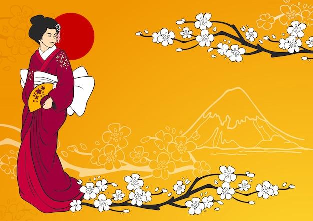 Иллюстрация гейши Бесплатные векторы