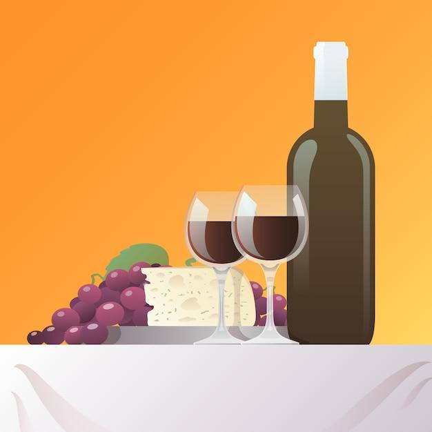 ワインとチーズのある静物 無料ベクター