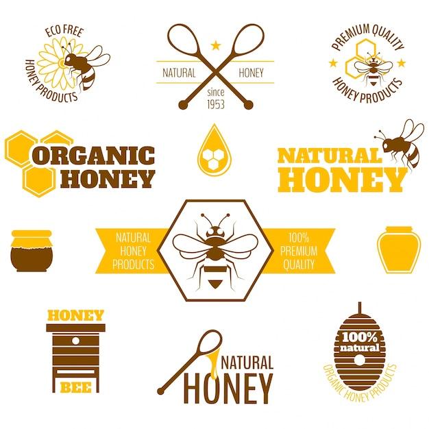 フラットデザインの蜂蜜ラベルのコレクション 無料ベクター