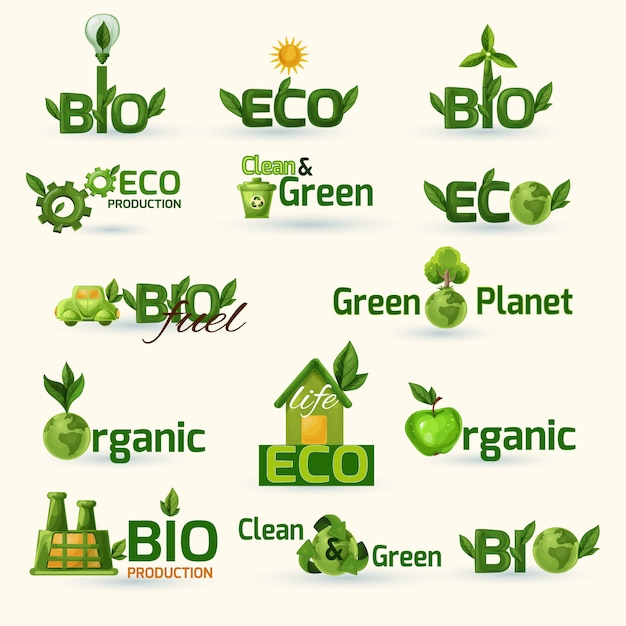グリーンエコロジーテキストのアイコンを設定 無料ベクター