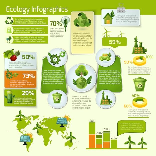 Зеленая экология инфографика Бесплатные векторы
