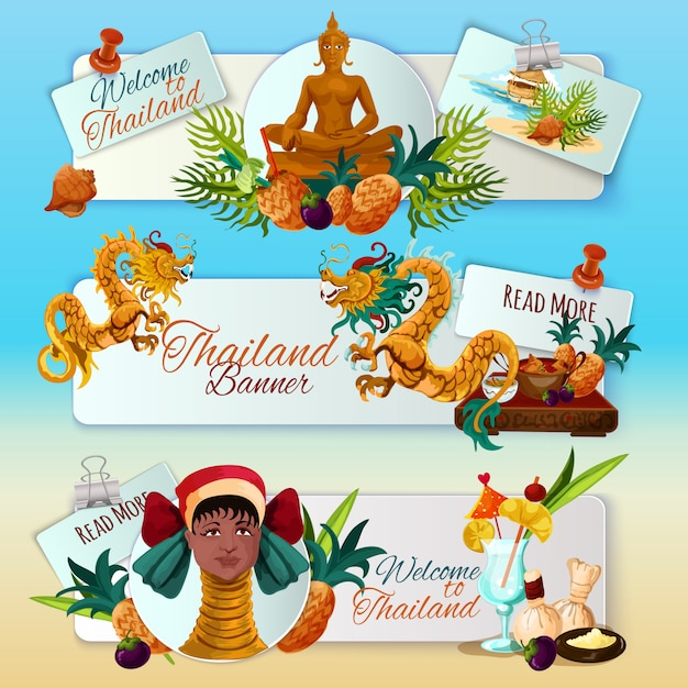 Набор туристических баннеров таиланда Бесплатные векторы