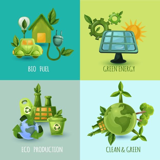Экология дизайн концепция набор Бесплатные векторы