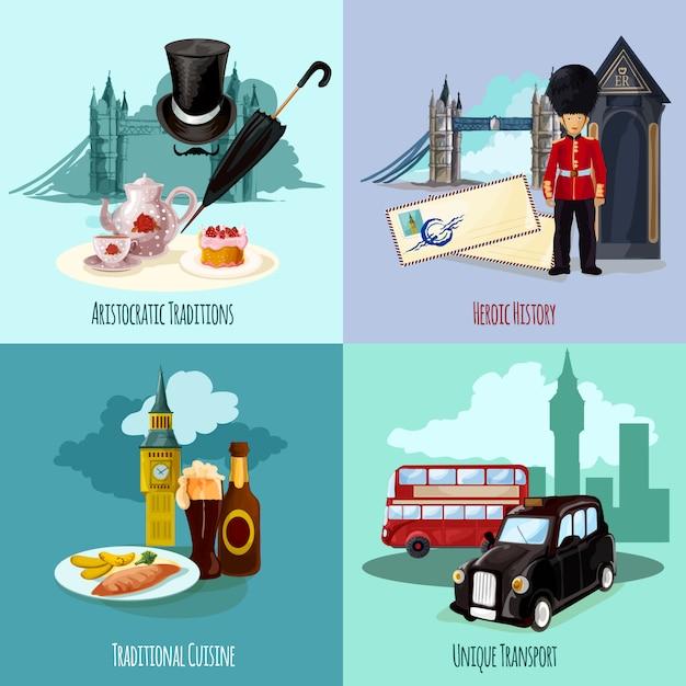 ロンドン観光セット 無料ベクター