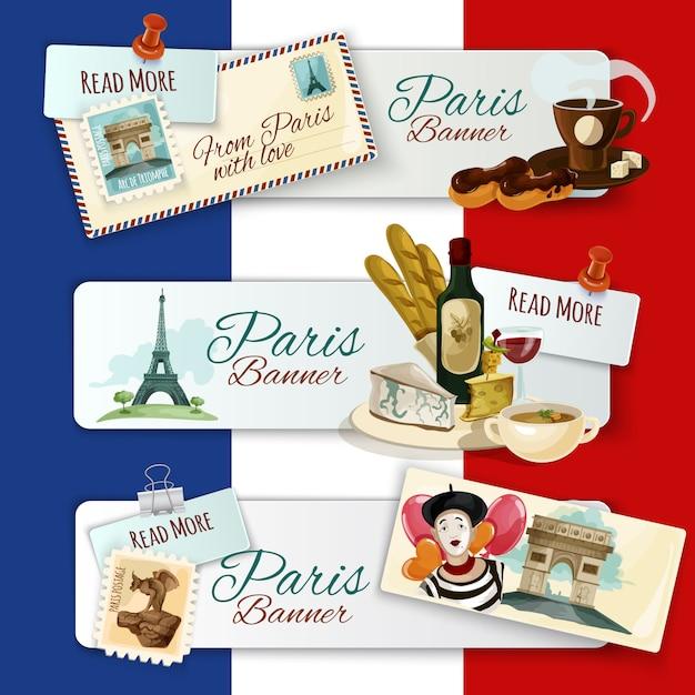Парижские туристические баннеры Бесплатные векторы