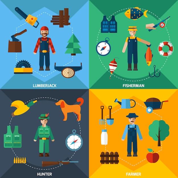Набор иконок профессии управления природопользованием Бесплатные векторы