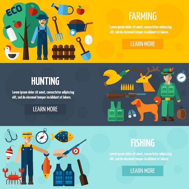 漁師狩猟と農家バナーセット 無料ベクター