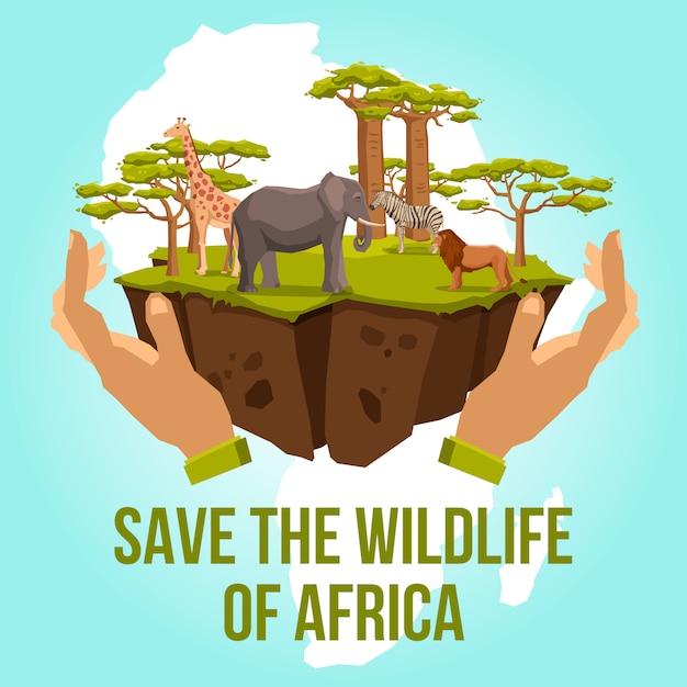 アフリカの野生生物を救うコンセプト 無料ベクター