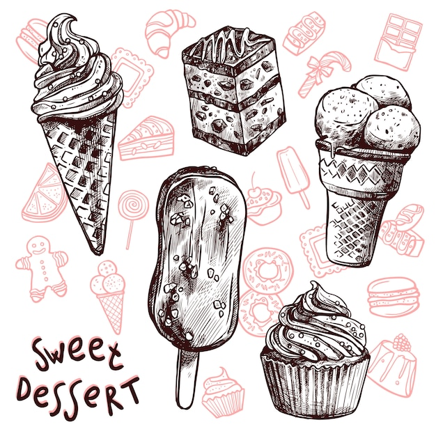 アイスクリームとケーキのスケッチセット 無料ベクター