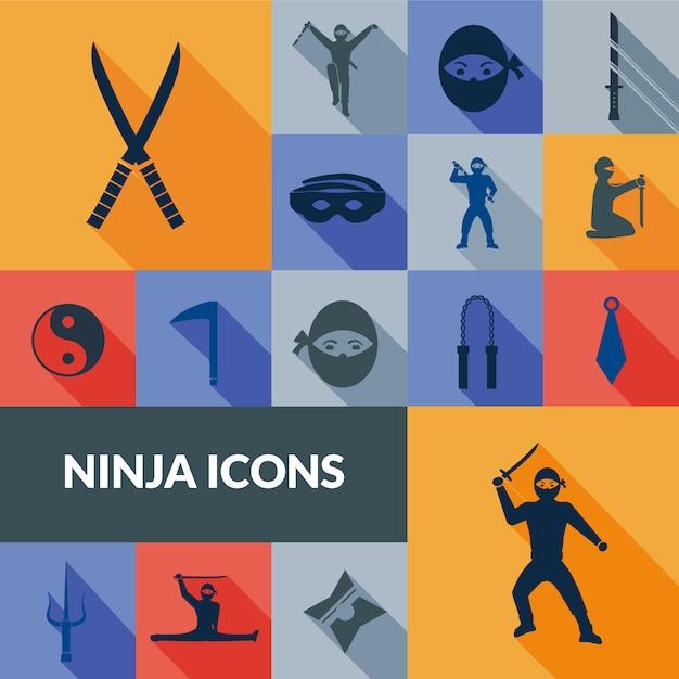 Набор иконок ниндзя черный Бесплатные векторы
