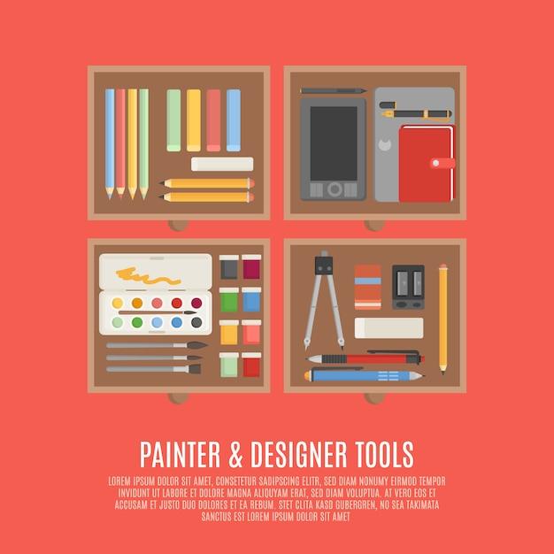 画家とデザイナーツールのコンセプト 無料ベクター