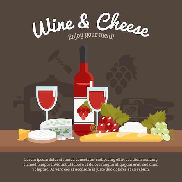 Вино и сыр жизнь еще Бесплатные векторы